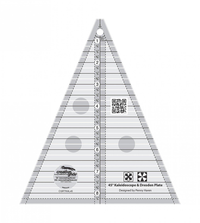 Creative Grids Kaleidoscope or Dresden Plate Triangle Quilt Ruler