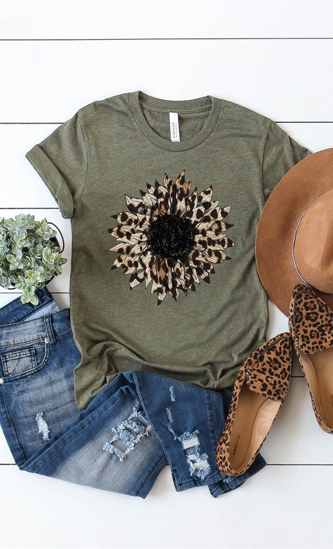 Olive Leopard Print Sunflower Graphic Tee