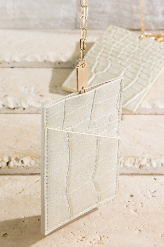 Ivory Faux Leather Card Case Necklace