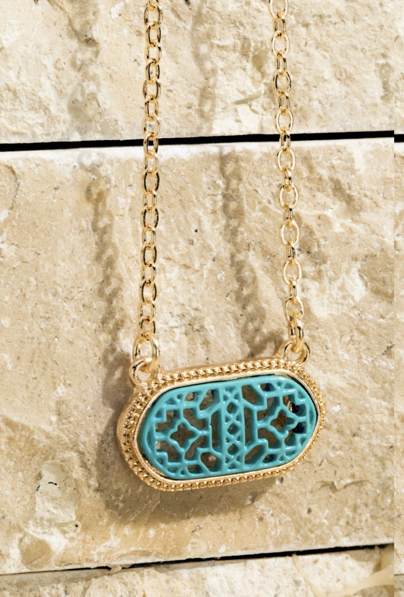 Aqua Filigree Charm Necklace & Earring Set