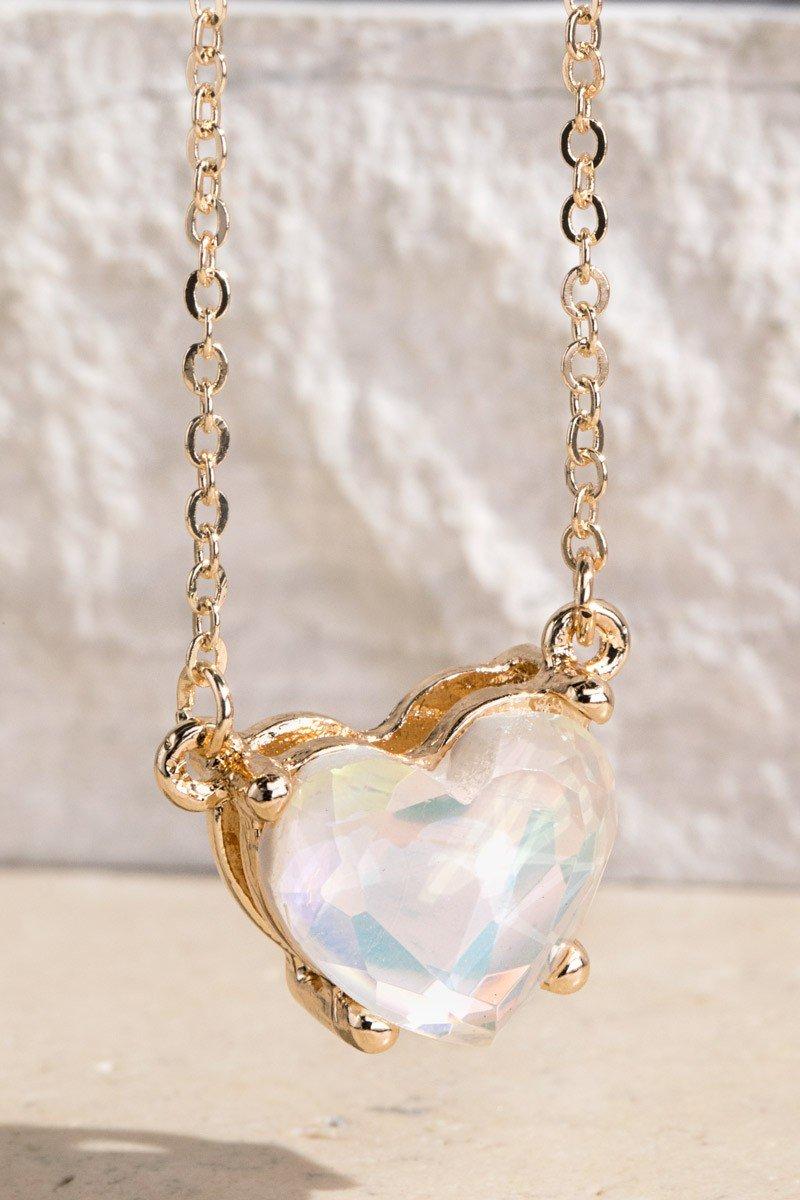 Crystal Luminous Acetate Heart Necklace
