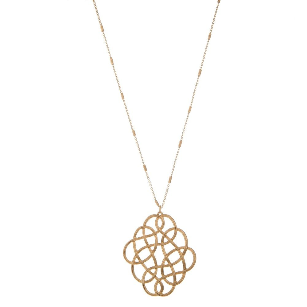 Long Gold Filligree loop Pendant Necklace