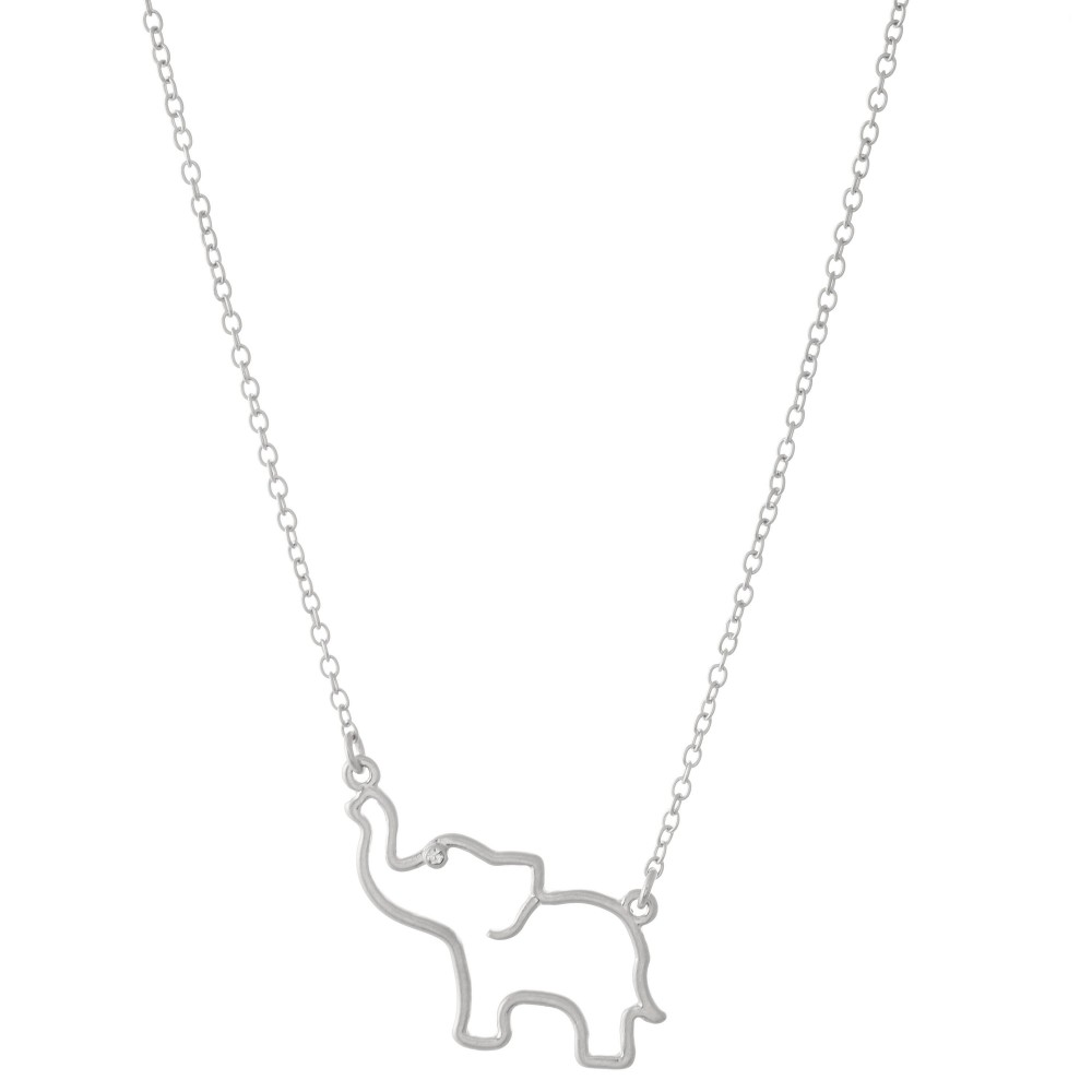 Elephant Cut Pendant Necklace Featuring Rhinestone Accent