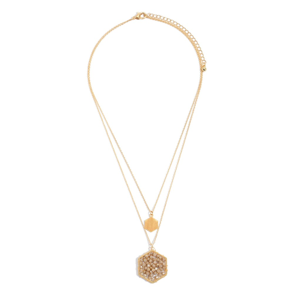 Brown Layered Beaded Honeycomb Pendant Necklace in Gold