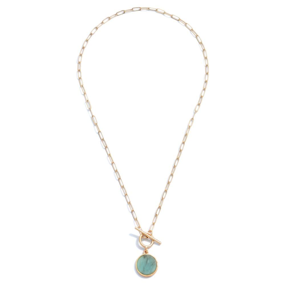 Amazonite Semi Precious Toggle Bar Necklace