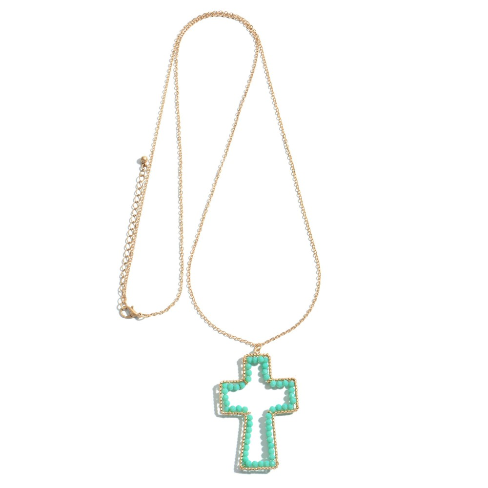 Mint Long Necklace Featuring a Beaded Cross Pendant