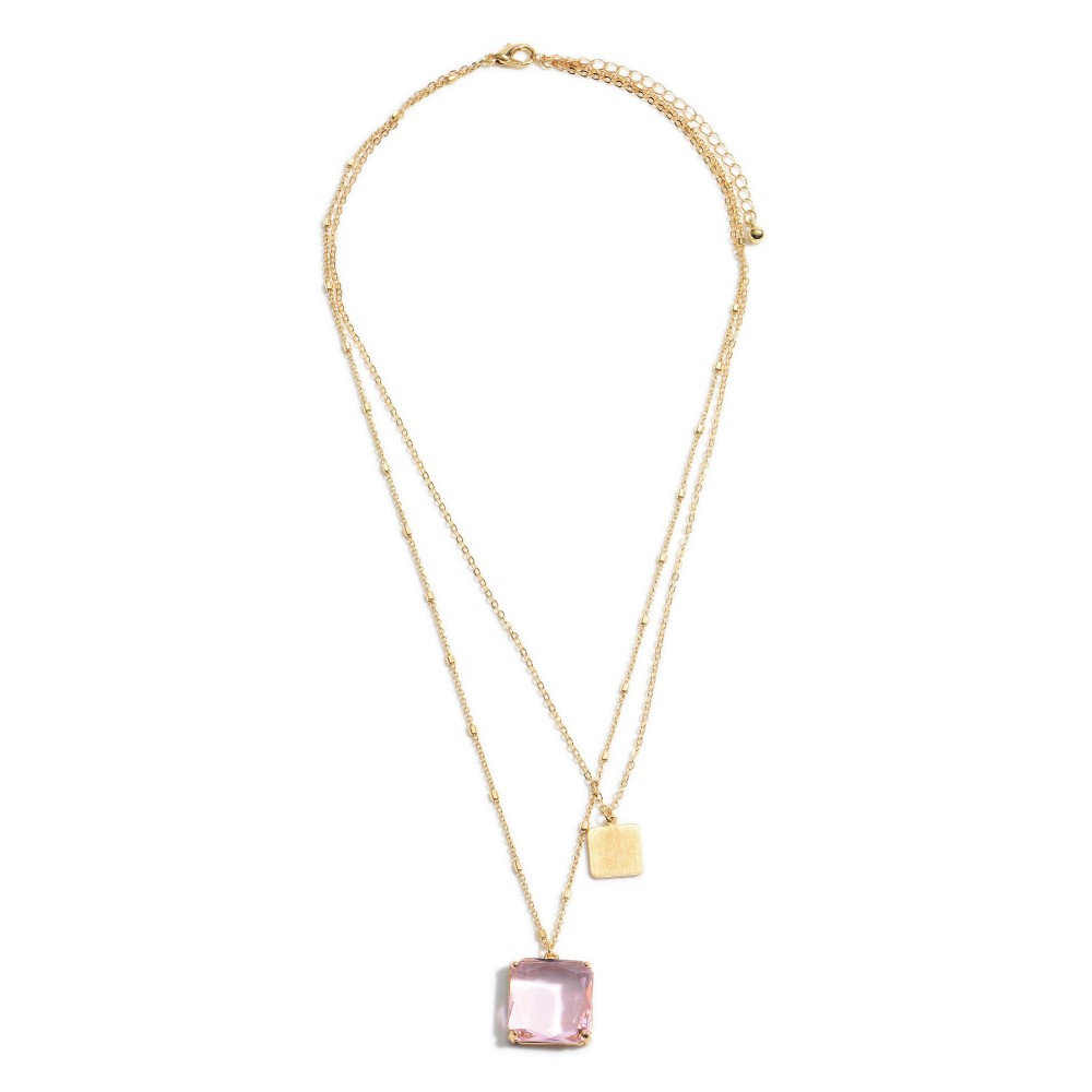 Blush Pink Layered Crystal Square Pendant Necklace