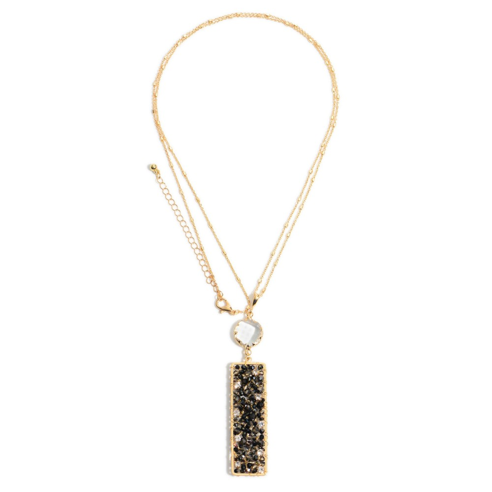 Black Wire Beaded Bar Necklace Featuring Rhinestone & Crystal Accents