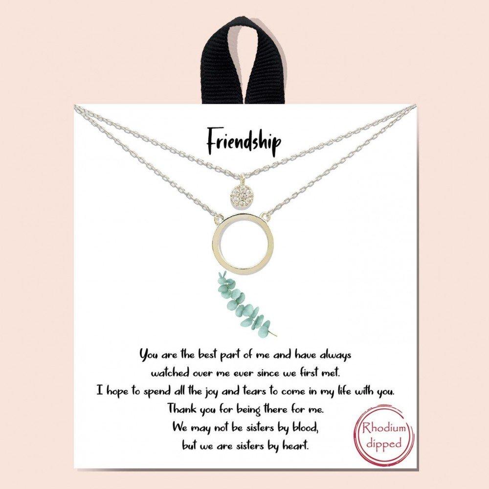 Silver Short Metal Friendship Necklace Featuring Circle & Cubic Zirconia Pendants
