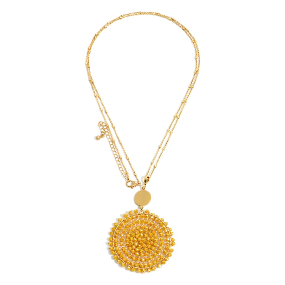 Mustard Long Metal Necklace Featuring Beaded Pendant