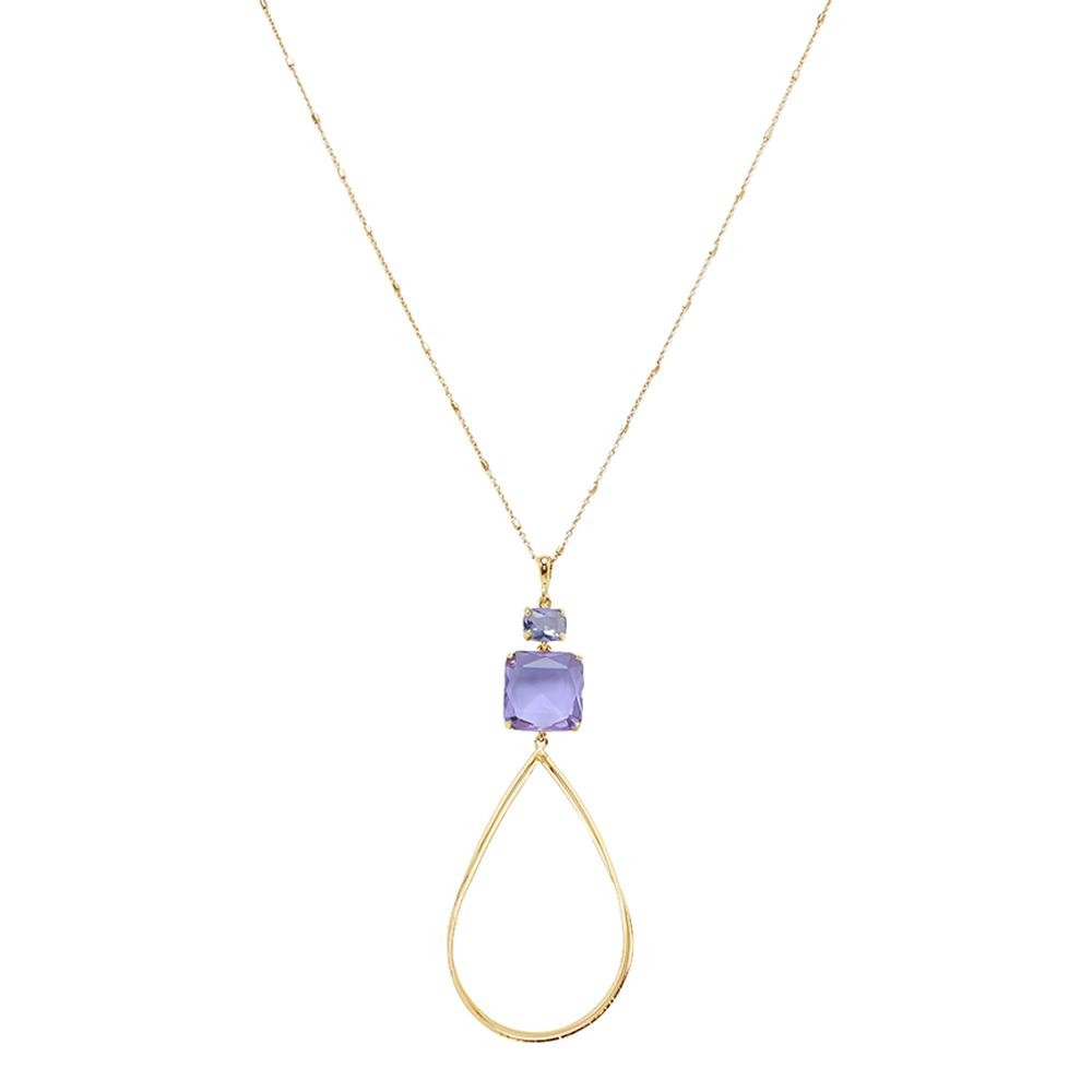 Long Gold Hoop Necklace with Crystal Gem