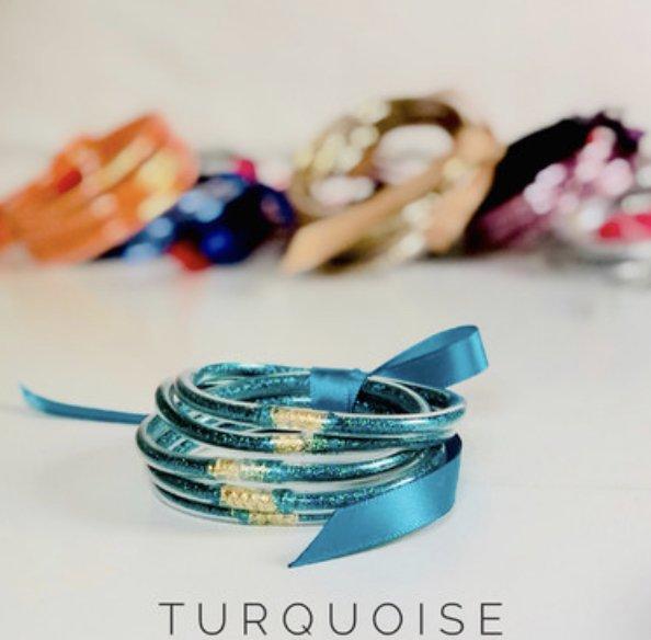 Turquoise Stacked Glitter Jelly Bangle 5 piece Set