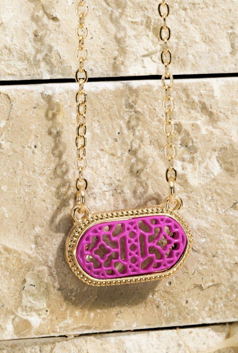 Fushia Filigree Charm Necklace & Earring Set