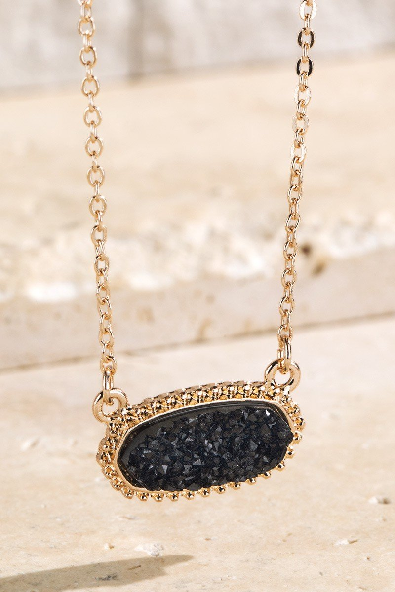 Black Drusy Accented Short Pendant Necklace