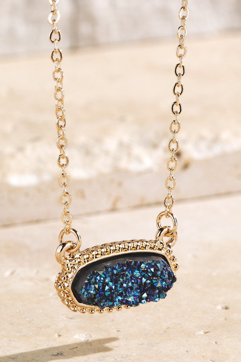 Midnight Blue Drusy Accented Short Pendant Necklace