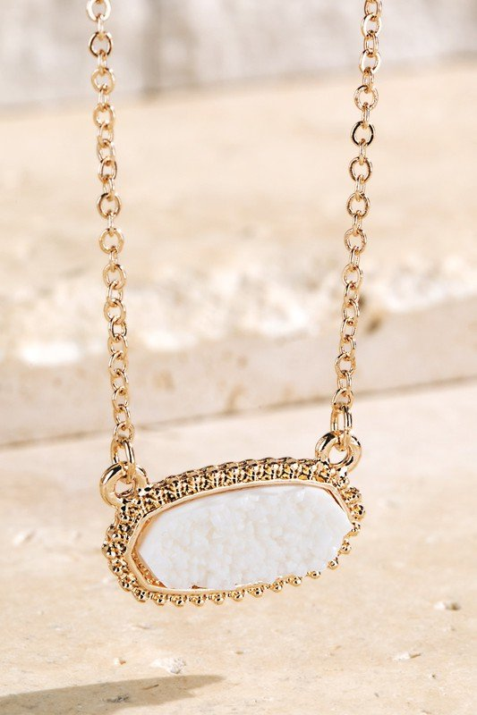 White Drusy Accented Short Pendant Necklace
