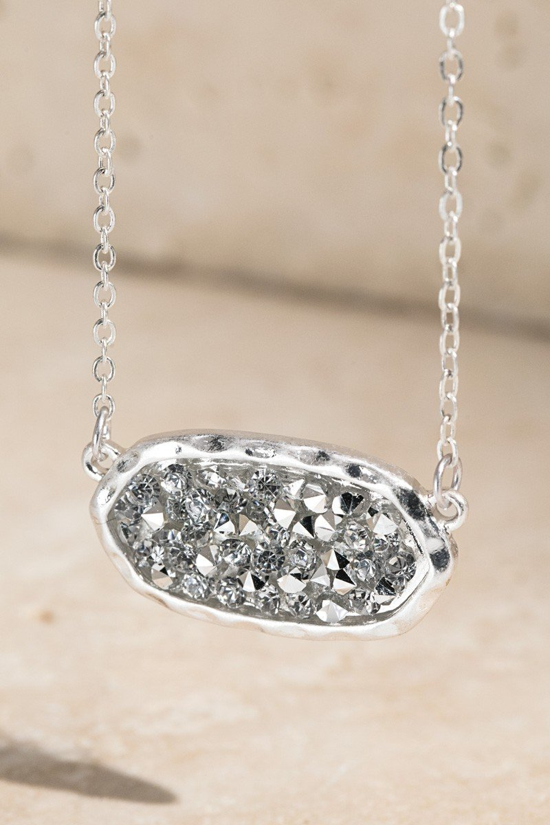 SILVER Oval Glitter Stone Accented Short Necklace