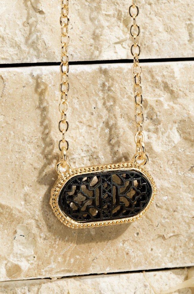 Black Filigree Charm Necklace & Earring Set