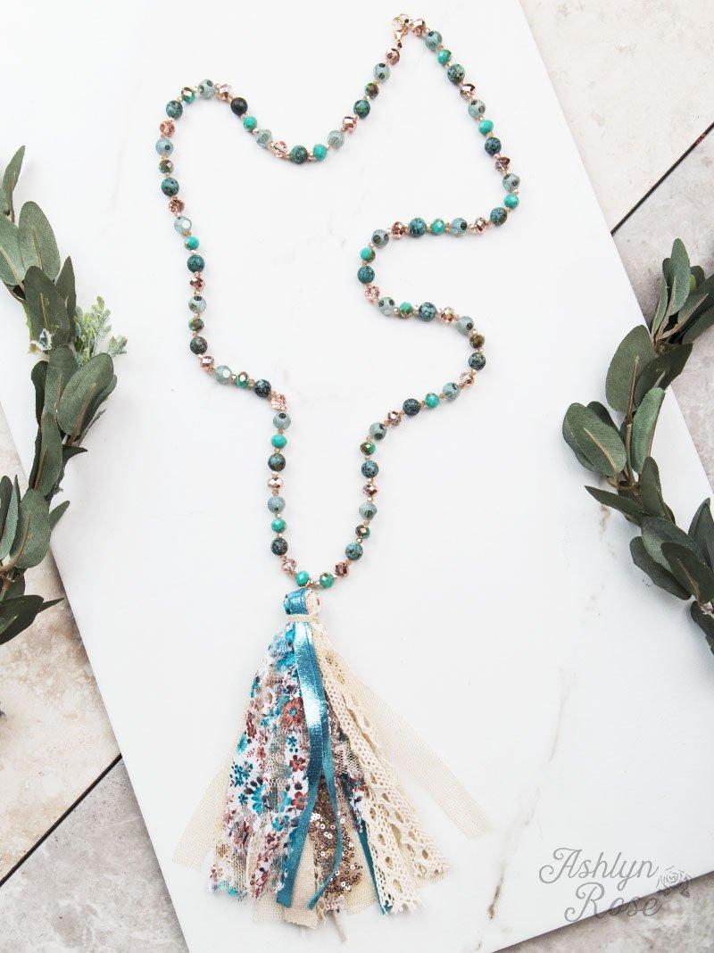 Metallic Turquoise Beaded Necklace W/Statement Tassel