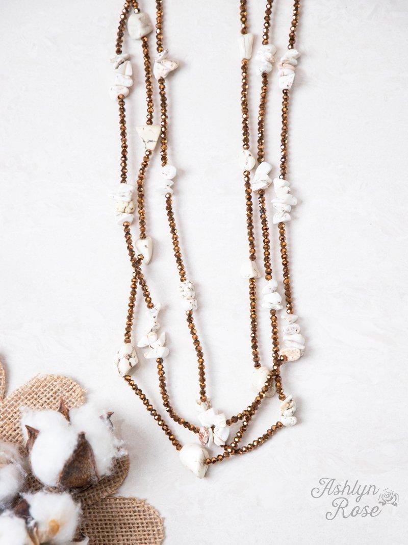 Three Layered White Chunky Stone Necklace