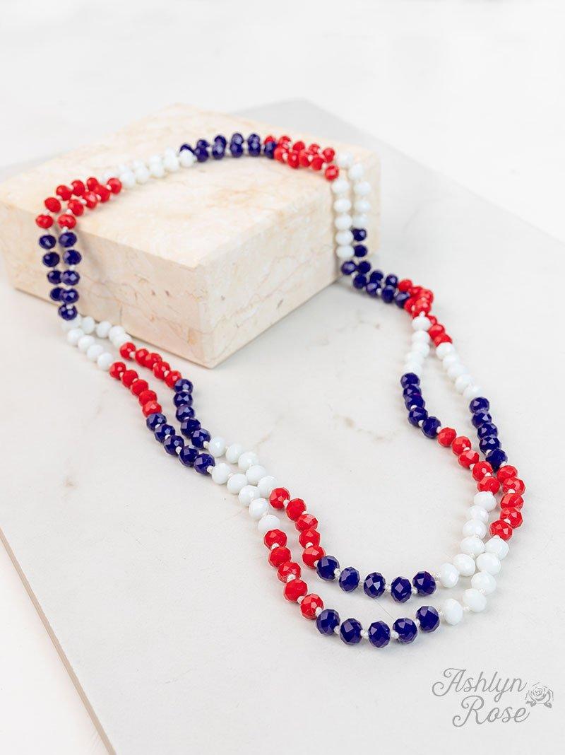Patriotic 60 Double Wrap Beaded Necklace