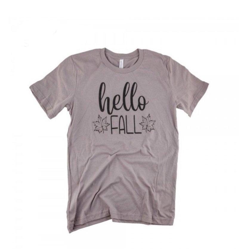 Hello Fall Taupe Tee