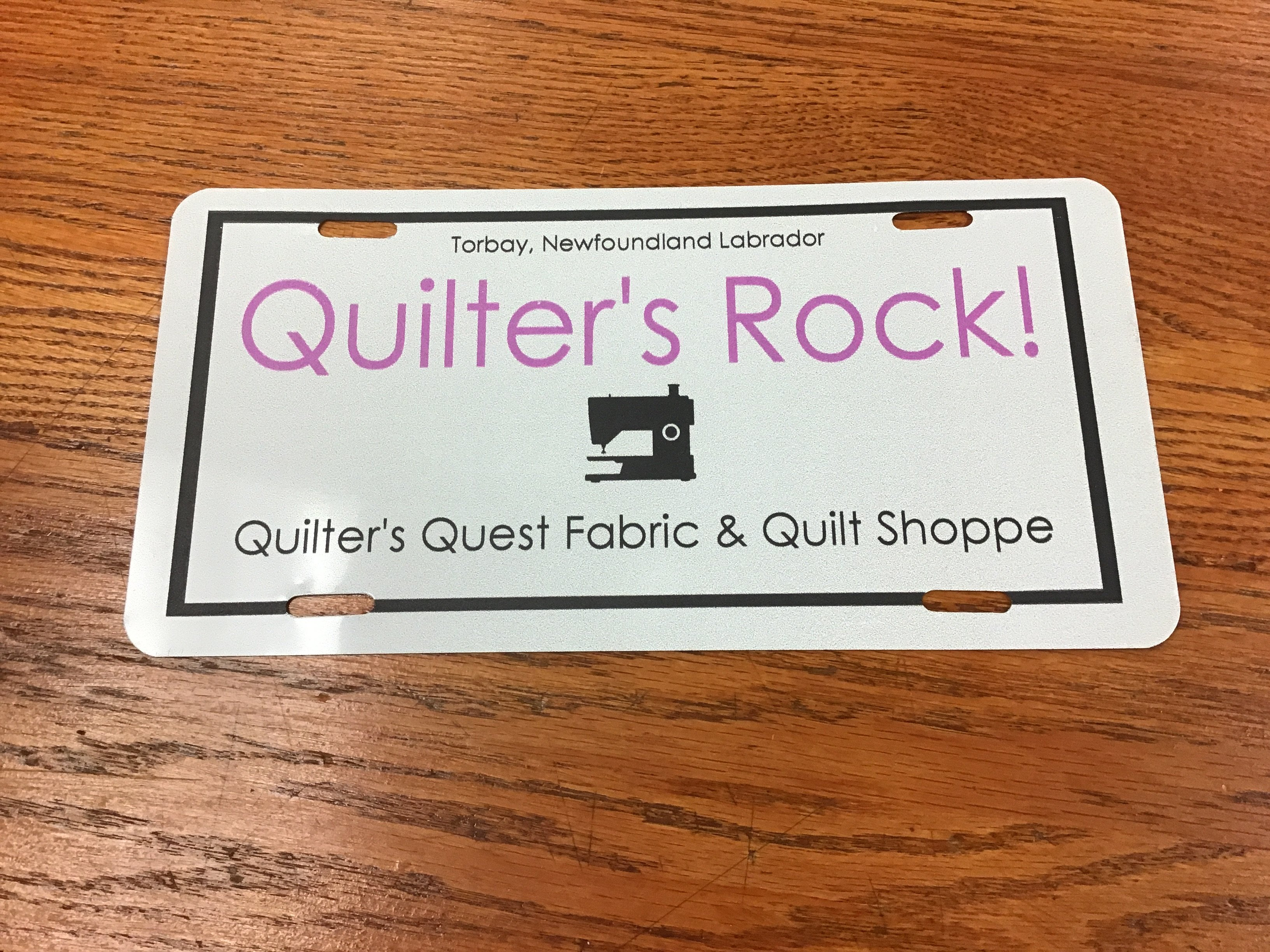 Quilter's Metal License Plate