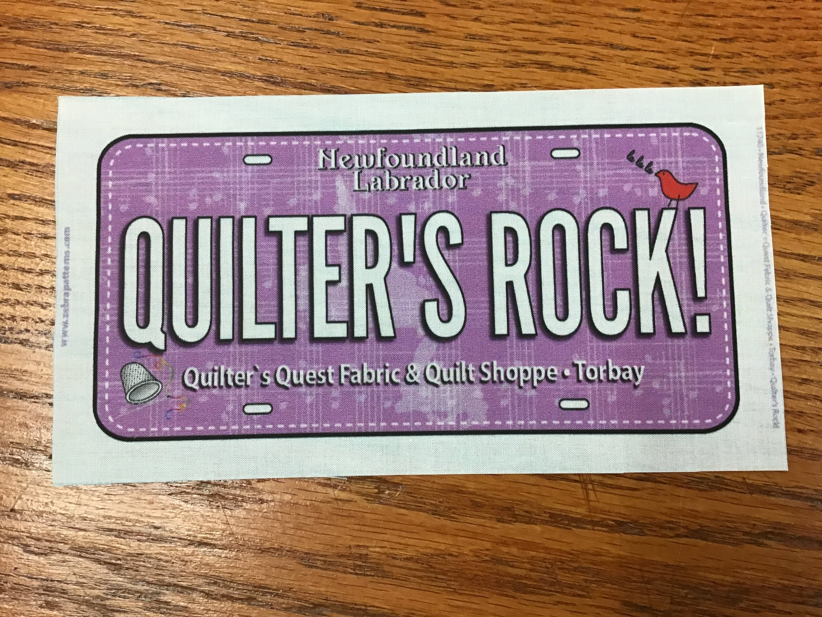 Quilters Fabric License Plate