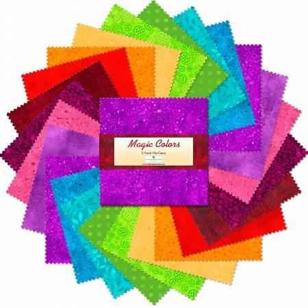 Wilmington Prints Essential Gems Pre-Cuts 5in Squares Magic Colors 24pcs/bundle