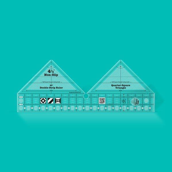 Creative Grids Ruler 90 degree Quarter Square Triangle Double Strip Ruler CGRDBS90
