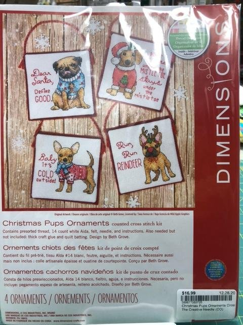 Christmas Pups Ornaments Cross Stitch Kit from Dimensions
