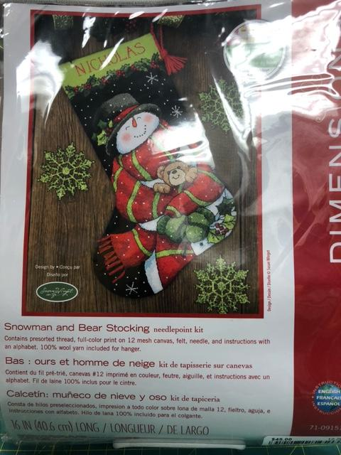 Snowman and Bear Stocking Dimensions Needlepoint Kit