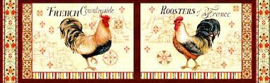 Bohemian Roosters panel - set of 2
