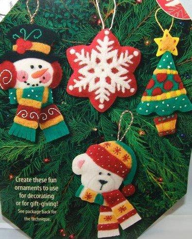 Bright Christmas Ornaments  Set of 4  Felt works