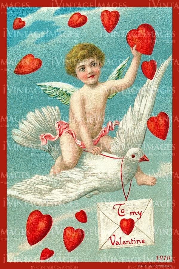 Valentines Fabric Post Card Set 4 - 4x6