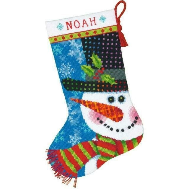 Patterned Snowman Stocking Dimensions Needlepoint Kit