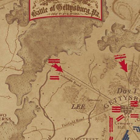 Gettysburg  Map Dark Tan