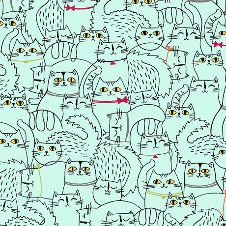 Cat Fish-Sketched Cats- Aqua