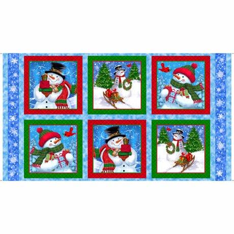 Frosty Friends Snowmen Patches Blue Panel 2/3 yd