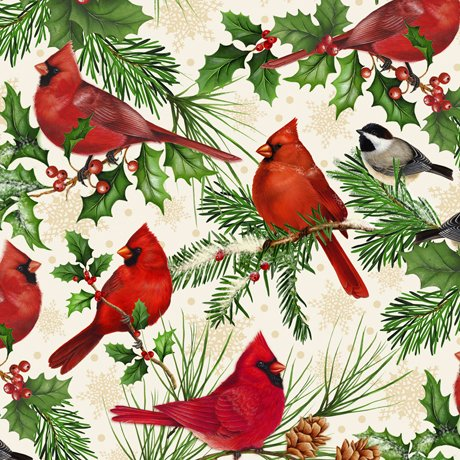 Christmas Cardinals - Cardinals on Oatmeal