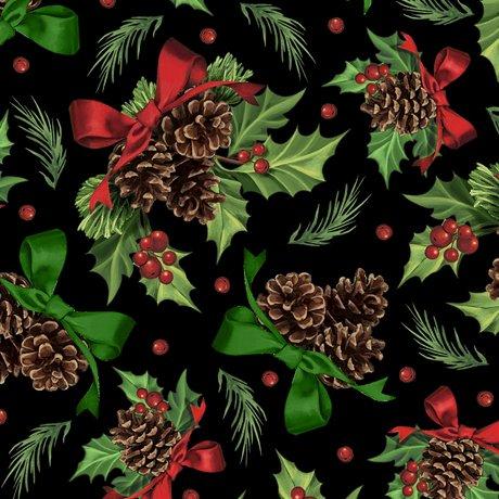 Winter Greetings - Holly & Pine - Black