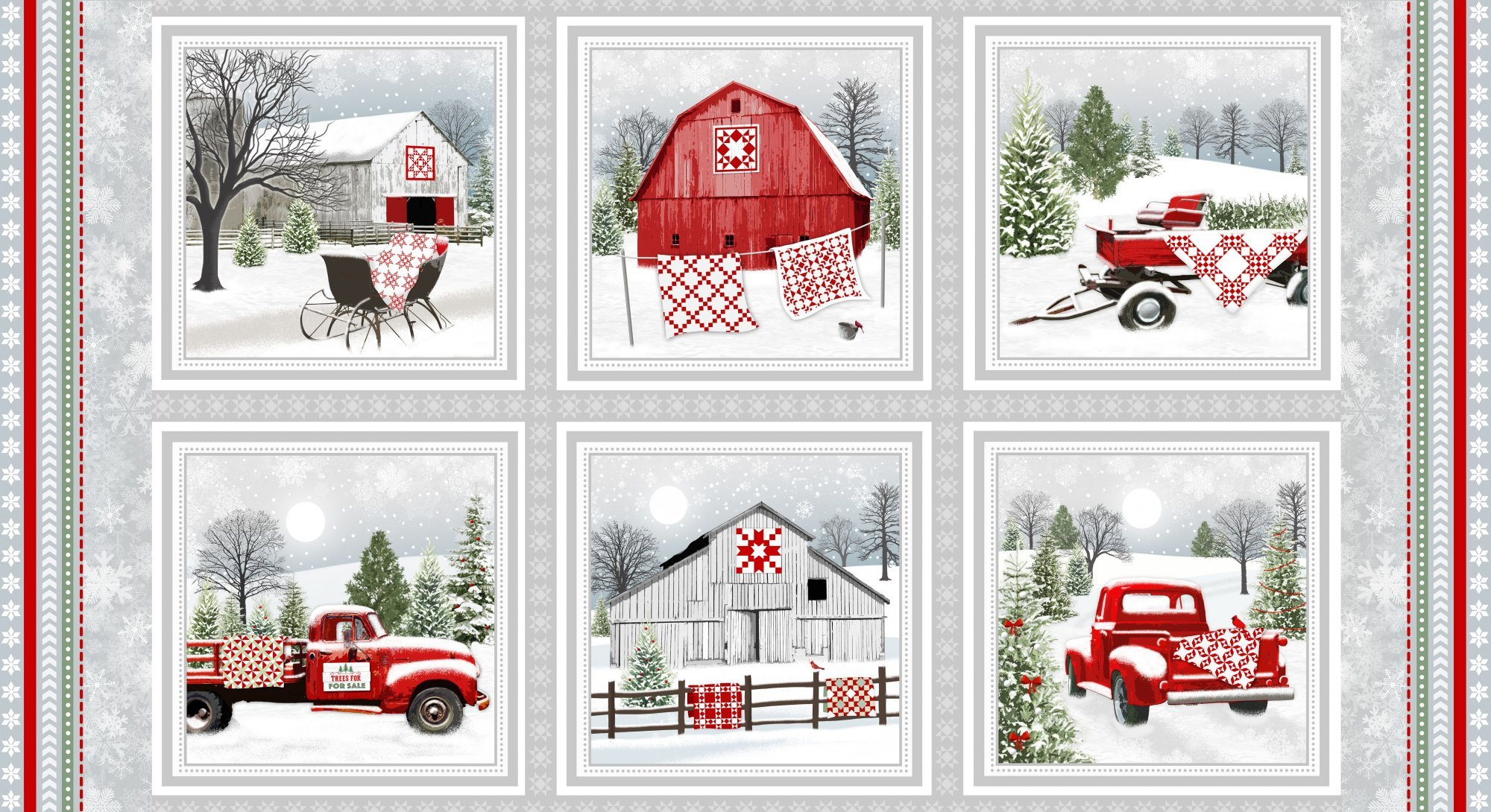Gray/Red Barns and Trucks   2/3 yard panel