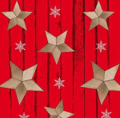 Warm Winter Wishes - Wood Grain with Tossed Stars