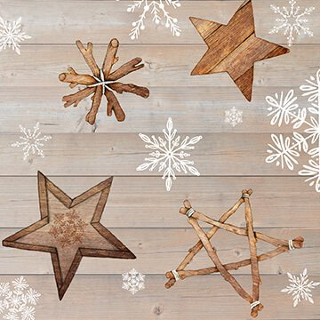 Warm Winter Wishes - Wood Grain with Snowflakes and Stars