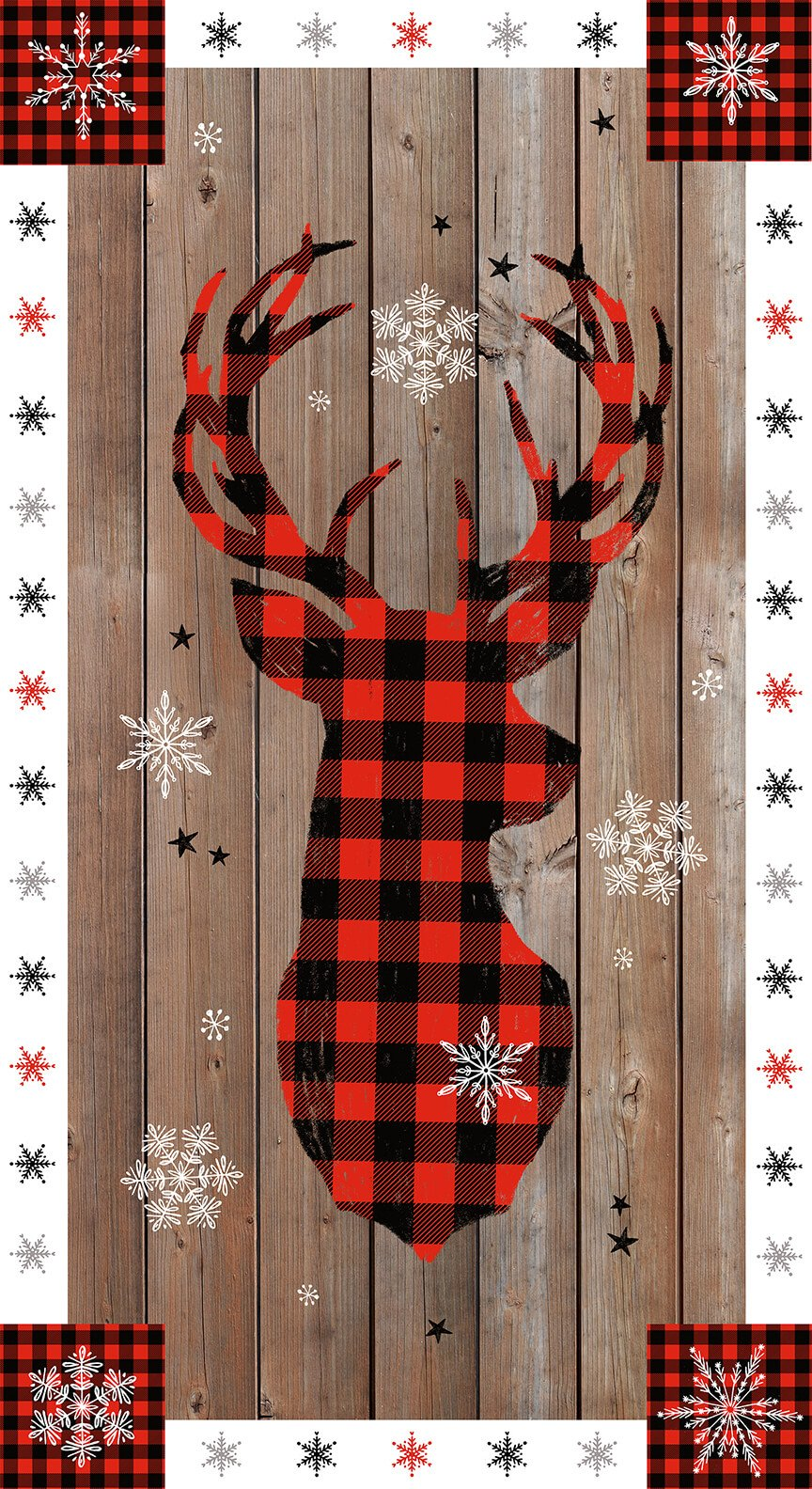Warm Winter Wishes - Panel - Deer Centered on Wood Grain