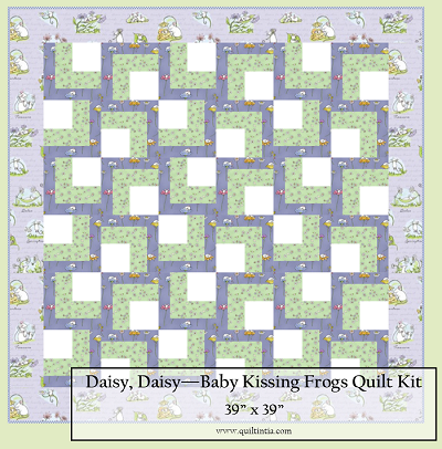 Daisy, Daisy Baby Kissing Frogs Quilt Kit