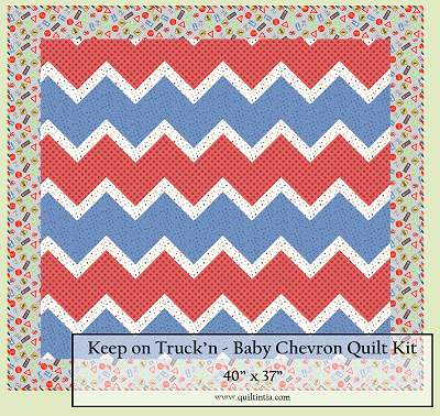 Keep on Truck'n Chevron Baby Quilt Kit
