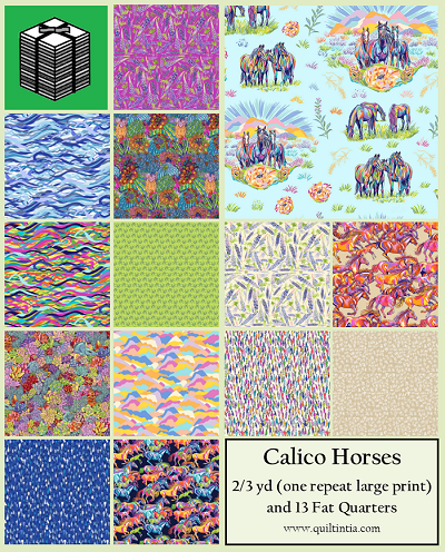Calico Horses - 2/3 yard of Main Print (one repeat) and 13 Fat Quarters