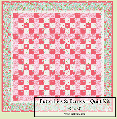 Butterflies & Berries Baby Checkmate Quilt Kit