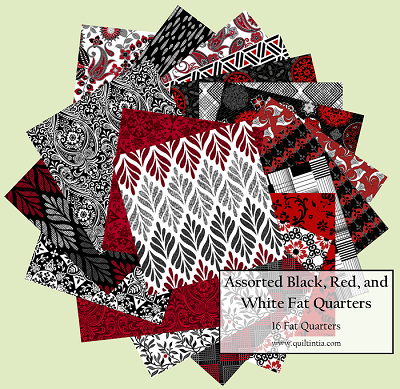 Assorted Black, White, and Red - 16 Fat Quarters